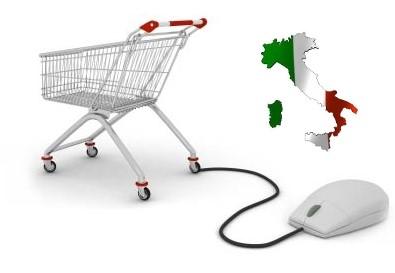 Carrello con mouse e Italia